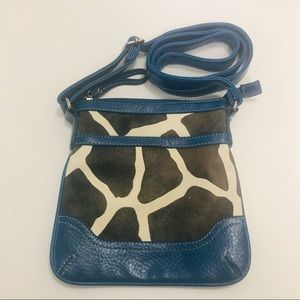 Bueno Crossbody Bag Blue Faux Cowhide Leather Zip
